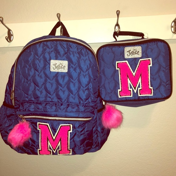 0b3ab17c686c2e Justice Girls Navy Backpack Lunch Tote Initial M